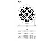 Plaster Air Vent Cover Ventilation Grille G08/d08 size 180mm